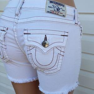 True Religion Mid Cut Off Jean Shorts 27 White